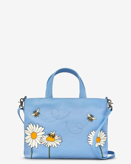 Bee Happy Blue Leather Multiway Grab Bag A