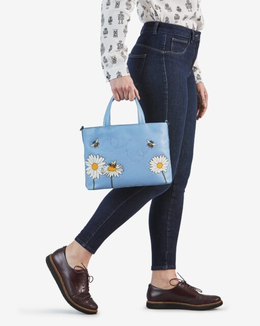 Bee Happy Blue Leather Multiway Grab Bag B