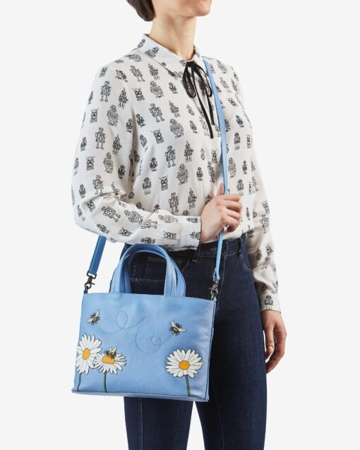 Bee Happy Blue Leather Multiway Grab Bag C