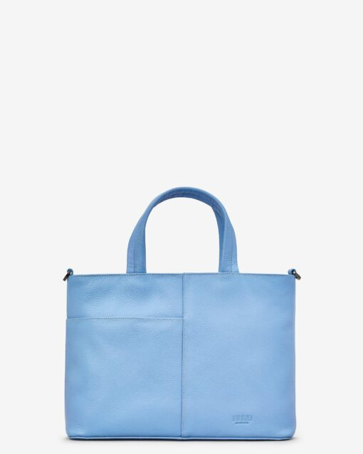 Bee Happy Blue Leather Multiway Grab Bag D
