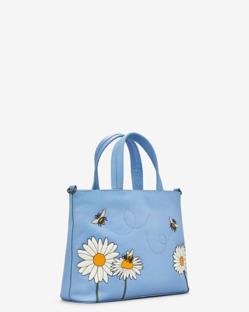 Bee Happy Blue Leather Multiway Grab Bag E