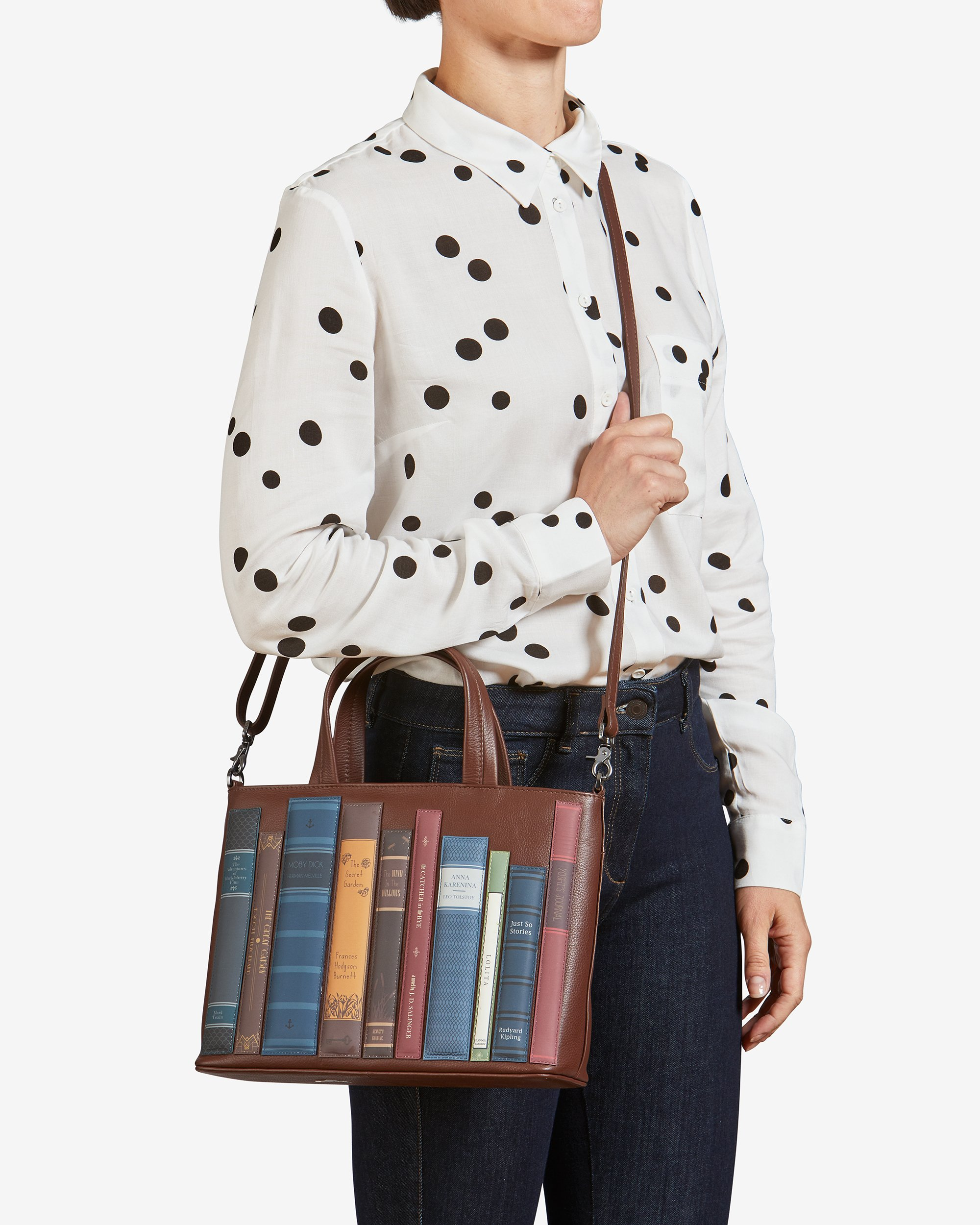 Bookworm Brown Leather Shoulder Bag handmade by yoshi