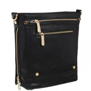 Double Front Zipped Crossbody Bag in Black By Bessie London