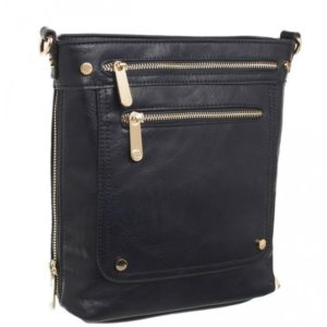 Double Front Zipped Crossbody Bag in Navy By Bessie London