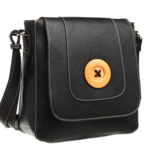 Crossbody Bag With Button Flap in Black By Bessie London