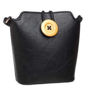 Small Crossbody Bag With Button Detail in Black By Bessie London