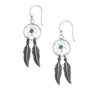 Dream Catcher With Turquoise Bead Sterling Silver Earrings