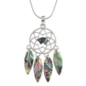 Paua Shell Bear Spirit Dream Catcher Necklace