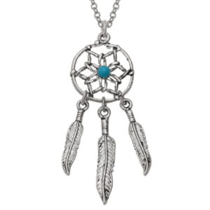 Dream Catcher With Turquoise Bead Necklace