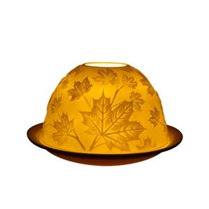 Porcelain Maple Leaves Tea Light Candle Holder Lithophane Dome