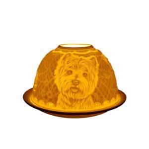 Porcelain Westie Dogs Tea Light Candle Holder Lithophane Dome