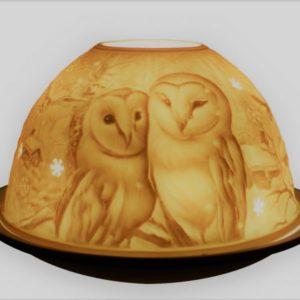 Porcelain Barn Owls Tea Light Candle Holder Lithophane Dome