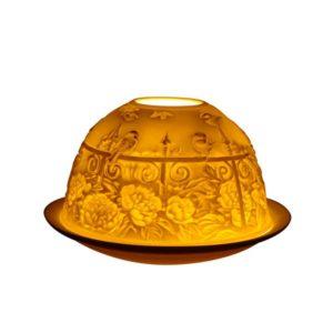 Porcelain Garden Gates Tea Light Candle Holder Lithophane Dome
