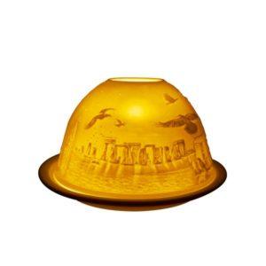 Porcelain Stonehenge Tea Light Candle Holder Lithophane Dome