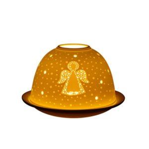 Porcelain Twinkling Angel Tea Light Candle Holder Lithophane Dome