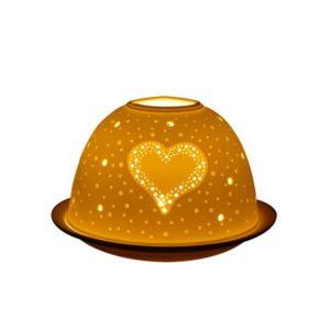 Porcelain Twinkling Heart Tea Light Candle Holder Lithophane Dome