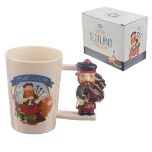 Bonnie Scotland Scottish Piper Shaped Handle Ceramic Mug