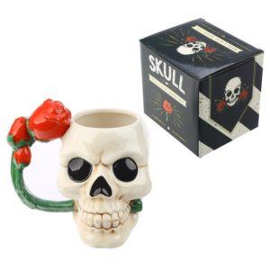 Ceramic Skull Shaped Mug with Red Rose Handle