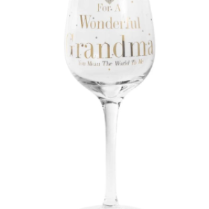 For A Wonderful Grandma You Mean The World To Me Wine Glass