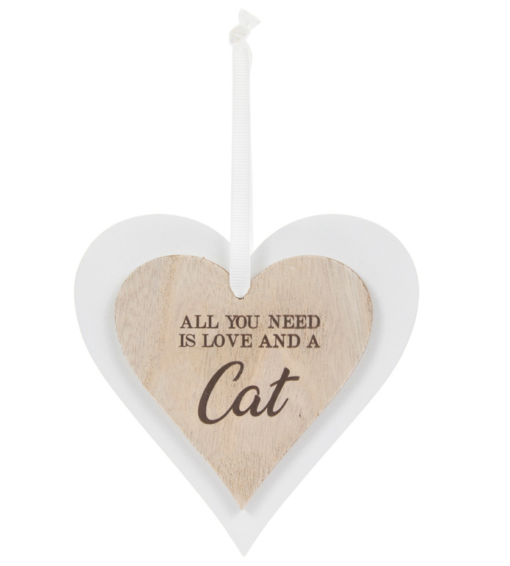 Dbl Heart Plaque Cat Gift 11035 P