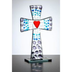 Standing Glass Cross Purple Blue 480x