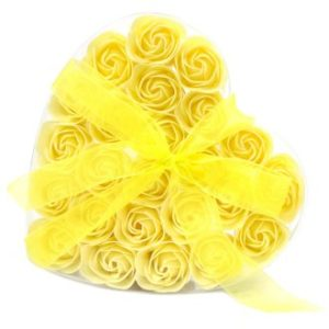 Set of 24 Soap Flower Heart Box – Yellow Roses