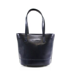 Italian Leather Bucket Style Bag With Shoulder Strap – Navy