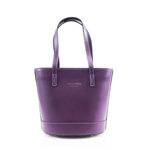 Italian Leather Bucket Style Bag With Shoulder Strap – Purple