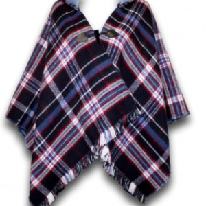 Blue Tartan Poncho with Hood