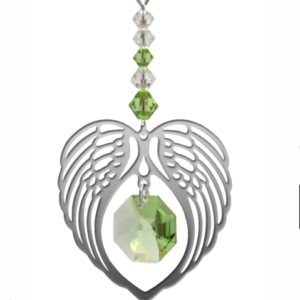 Angel Wing Swarovski Peridot Crystal Hanging Suncatcher – August Birthstone