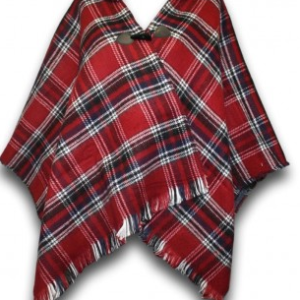 Red Tartan Poncho with Hood