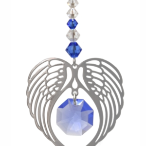 Angel Wing Swarovski Sapphire Crystal Hanging Suncatcher – September Birthstone
