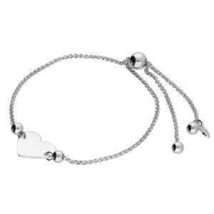 Sterling Silver Slider Bracelet With Heart