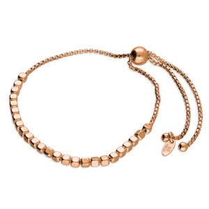 Rose Gold & Sterling Silver Irreguler Cube Bead Slider Bracelet
