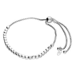 Sterling Silver Irreguler Cube Bead Slider Bracelet