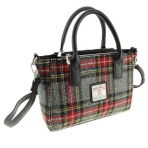 Harris Tweed Small Tote Bag in Grey & Red Tartan – Brora