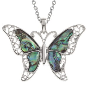 Paua Shell Filigree Butterfly Pendant Necklace