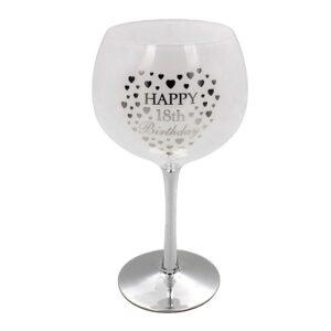 18th Happy Birthday Heart Gin Glass