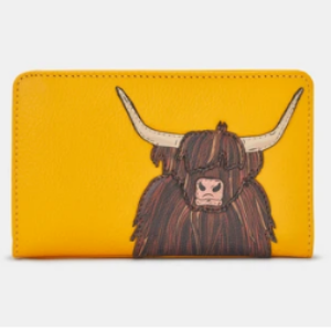 HIGHLAND COW YELLOW LEATHER PURSE BY YOSHI WITH RFID