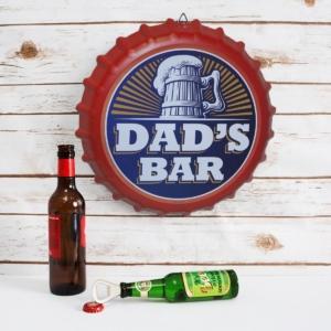 Large Bottle Cap Metal Sign – Dads Bar