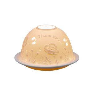 Thank You Lithophane Picture Porcelain Dome