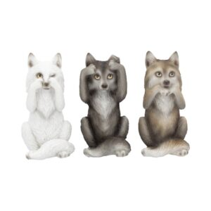 Three Wise Wolves Figurines 10cm