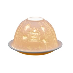 Happy New Home Lithophane Picture Porcelain Dome