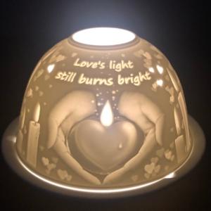 Loves Light Still Burns Bright Lithophane Picture Porcelain Dome