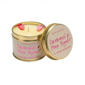 Caramel & Pink Pepper Tinned Candle With Essential Oils by Bomb Cosmetics
