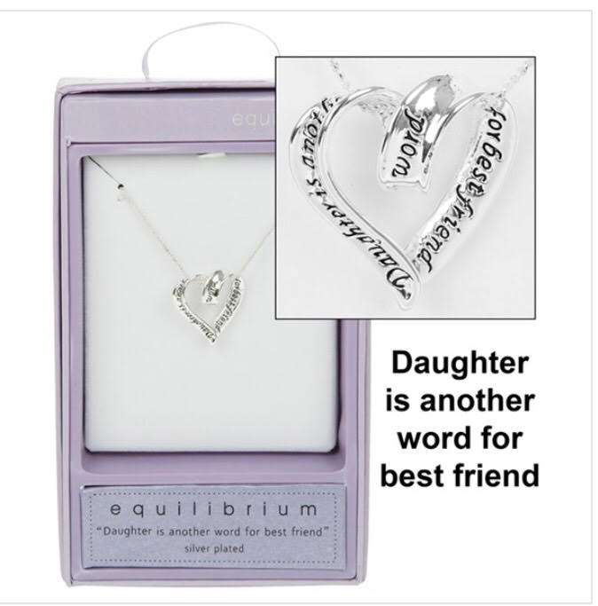 Daughter Is Another Word For Best Friend Heart Sentiment Necklace