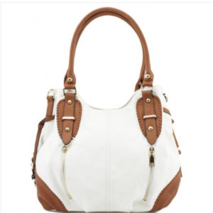 White & Tan Shoulder Bag With Additional Cross-Body Strap