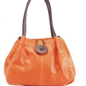 Button Shoulder Bag in Orange