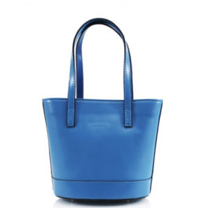 Italian Leather Bucket Style Bag With Shoulder Strap in Turquoise / Blue