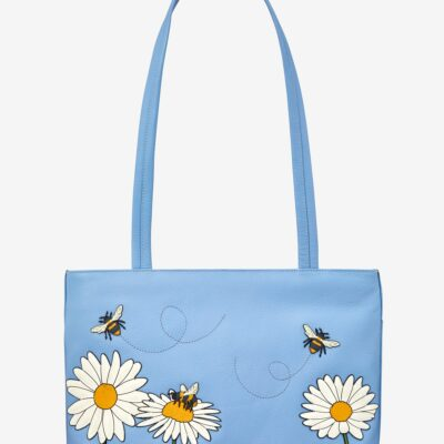 Bee Happy Blue Leather Shoulder Bag A